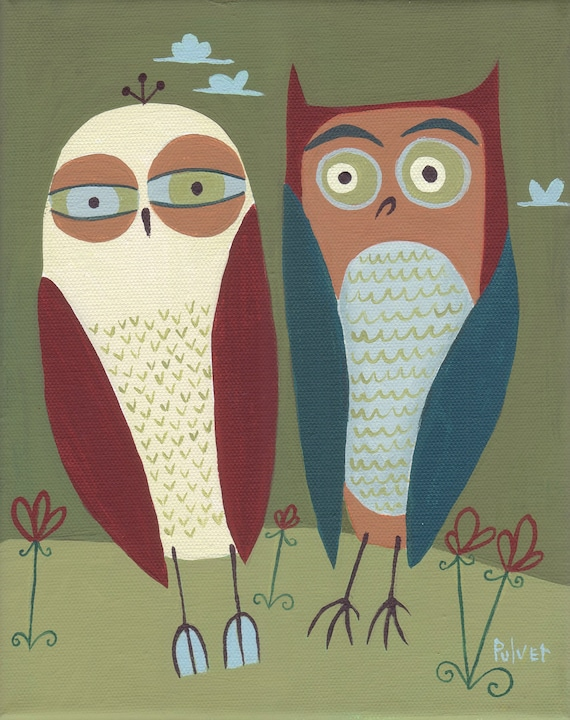 Two Owls ACEO Art Print - Folk Art Animal Card