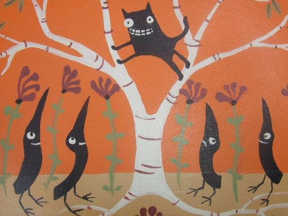 Hand Painted Stoneware Plate  Black Cat Up In Tree Orange