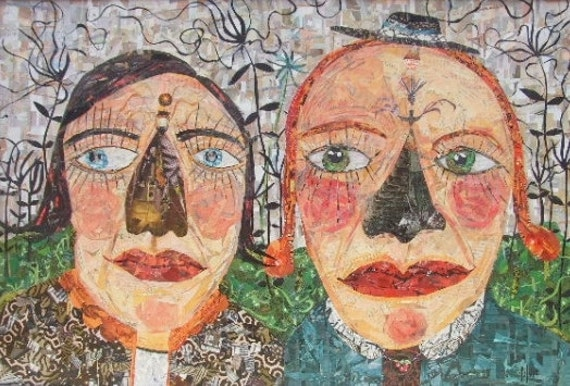 Large Original Collage Girl Art - Sisters - Framed Folk Art