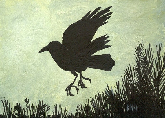 Flying Crow Note Card - Silhouette of Bird Art - Raven - Birthday Sympathy Halloween Mothers Day