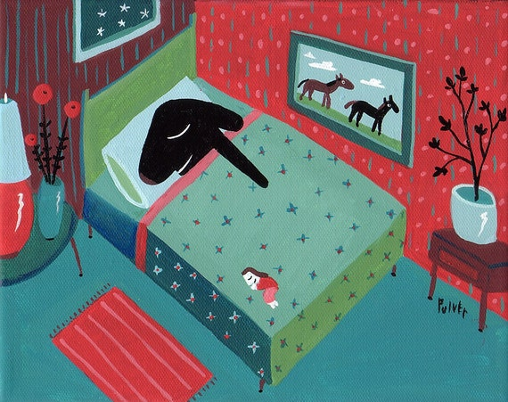 Dog ACEO Print Black Lab Sleeps In Bed Whimsical Funny Humorous