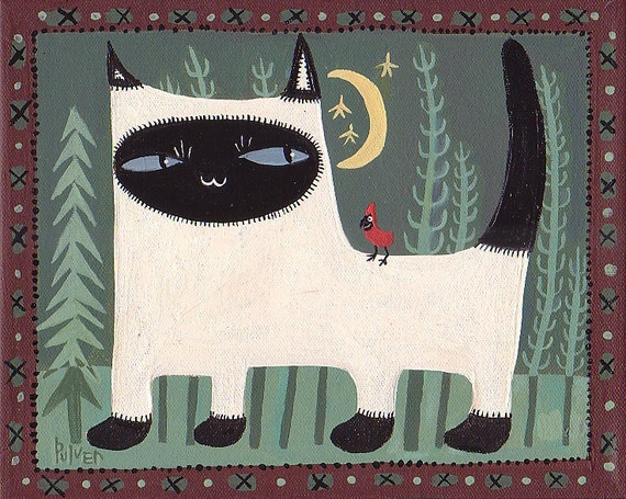 Siamese Cat Painting in Green, Maroon with Cardinal 8x10 folk art
