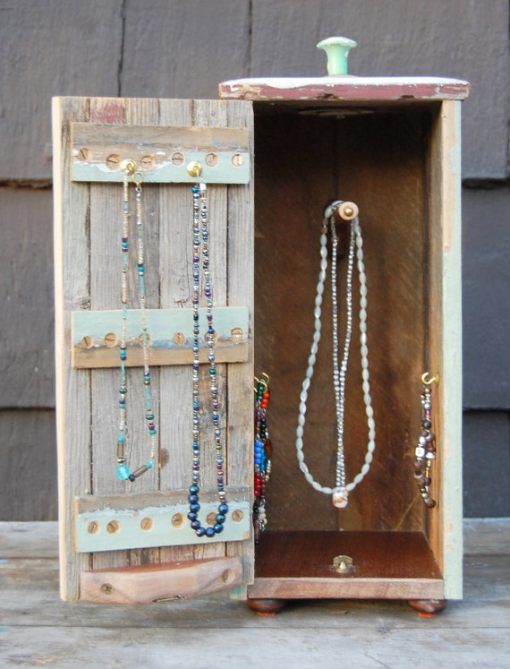 Rustic Wood Jewelry Box For Hanging Necklaces And Bracelets