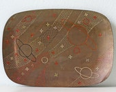 Vintage Outer Space Etched Brass Tray