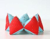 Vintage Star Pincushion - Aqua and Red