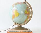 "Vintage Lighted Globe - 10"" Replogle Library Globe"