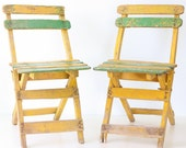 Vintage Cafe Chairs - Yellow and Green, Set of 2