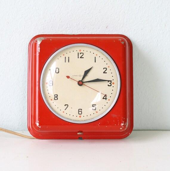 Vintage Red General Electric Clock
