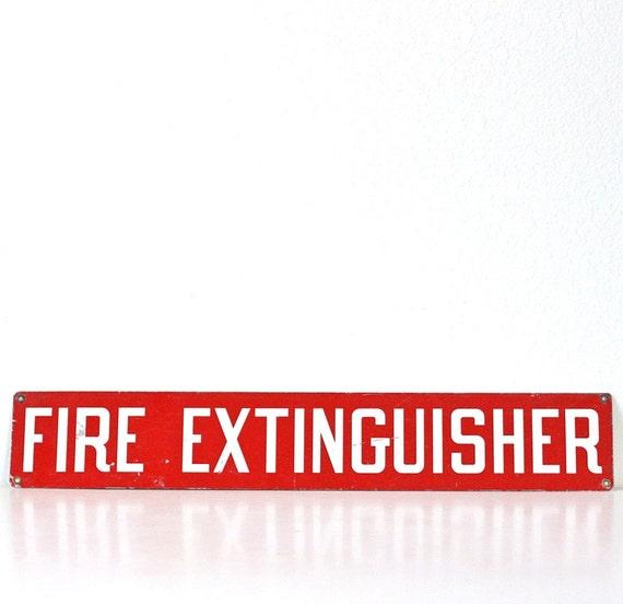 Vintage Red FIRE EXTINGUISHER Sign
