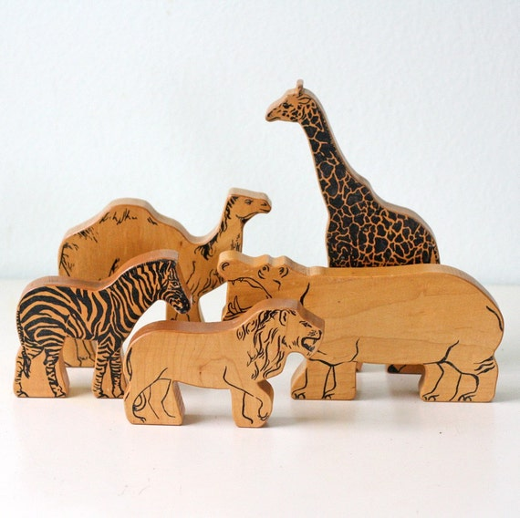 Vintage wooden block jungle animals by bellalulu on etsy for Classic jungle house for small animals