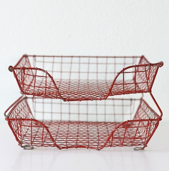 Vintage Two Tray Red Wire Basket