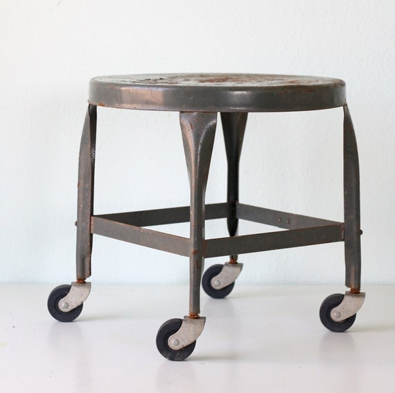 Vintage Grey Industrial Stool By Toledo Metal Furniture Co