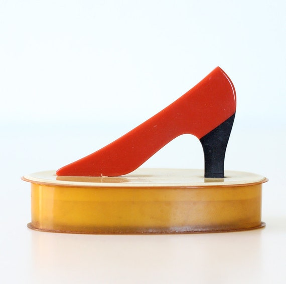 Vintage Celluloid Box with Red High Heel