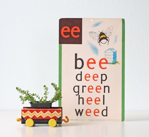 Vintage School Poster ... EE in bee, deep, green, heel, weed