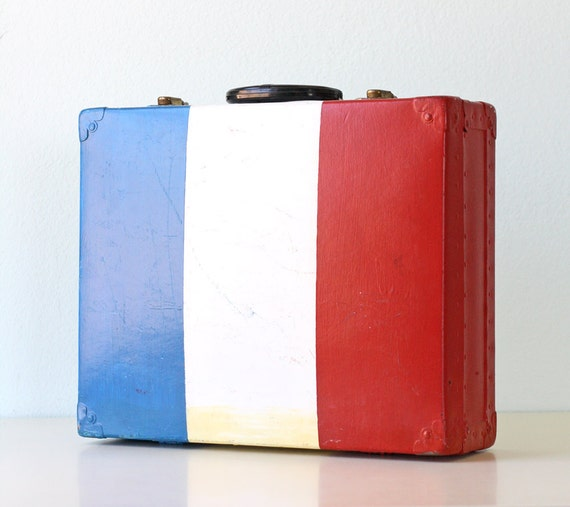 RESERVED Vintage Red, White and Blue Suitcase