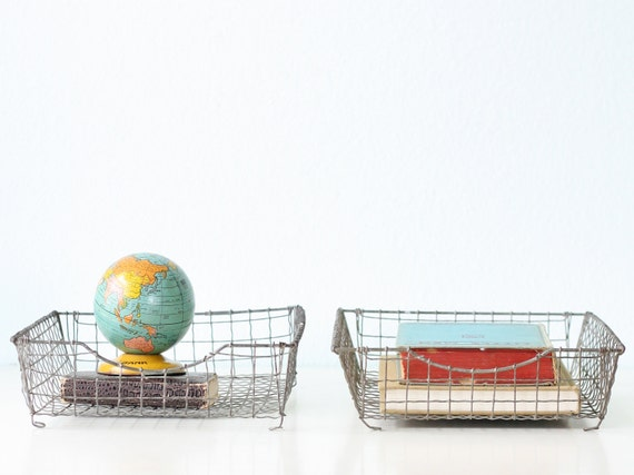 Vintage Wire Baskets - In / Out Letter Baskets, Set of 2