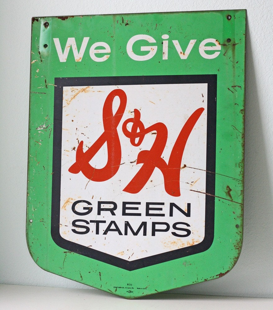 vintage metal s and h green stamps sign. Black Bedroom Furniture Sets. Home Design Ideas