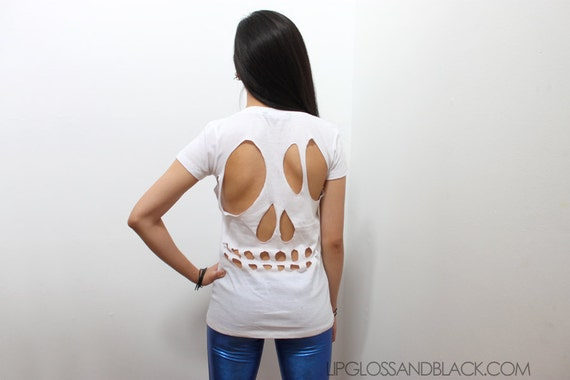 white skull cut-out tee - L