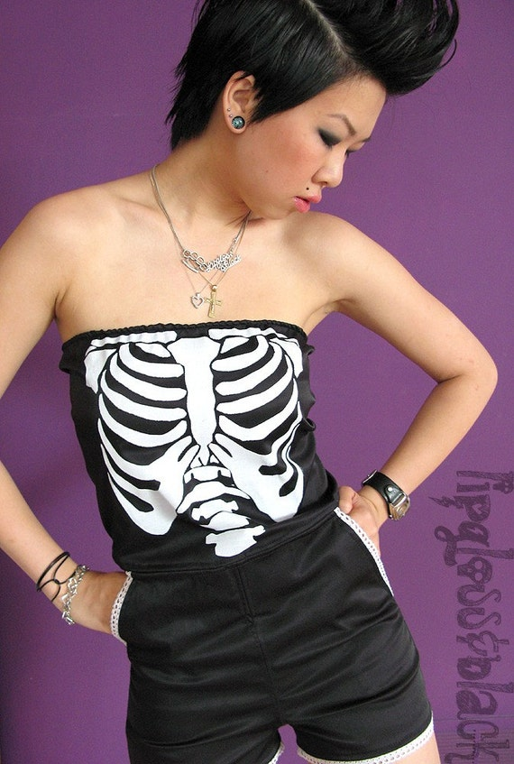 SALE - Romper - Black X-Ray Ribcage Jumper S