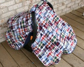 Baby Infant Carseat Car seat canopy cover blanket nursing soft  madras plaid patchwork nautical preppy navy blue red
