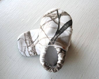 Baby Boy Booties toddler infant newborn slippers shoes Camo Camouflage white trees girl non slip soft soled gift woodsy SWAG