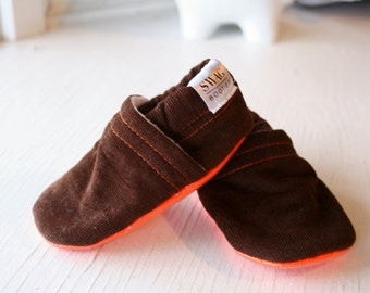 Corduroy Baby Booties boy girl toddler slippers shoes soft soled non slip SWAG Dark Brown