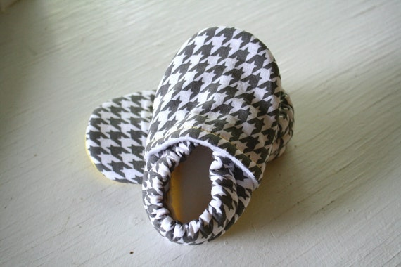 Houndstooth baby toddler booties boy girl Infant Soft Soled Shoes brown Grey Gray and Yellow  Baby Booties gift SWAG