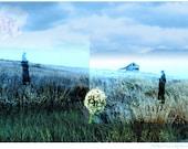 Fine Art Print Photography Collage Photomontage Woman Landscape Home Decor Blue Garden