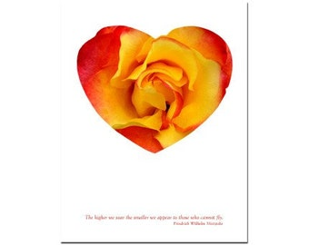 Greeting Card, Valentine, Heart Card with Rose, Handmade I Love You Card Number 2