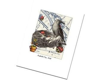 Greeting Card Birds Art Collage Retro Urban No.2