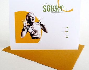 Apology Note Card: Funny Original Retro Graphics Handmade