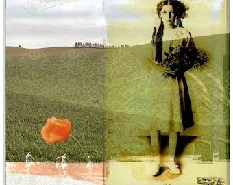 Fine Art Photography Collage Woman Spring Landscape Field Original