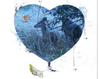 Blank Greeting Card I Love You My Deer Hand Made Original Photography Collage