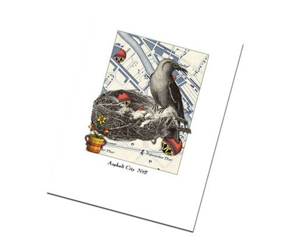 Greeting Card Birds Art Collage Retro Urban No.2