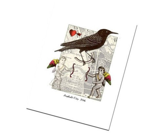 Bird Note Card: Art Collage Greeting Urban No. 6