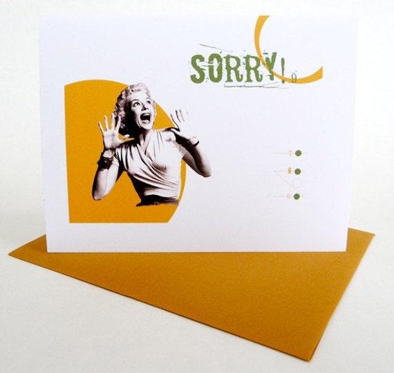 Apology Note Card: Funny Original Retro Graphics Handmade