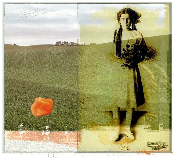 Fine Art Photography Collage Woman Spring Landscape Field Original