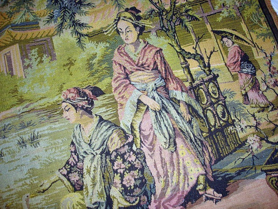 Vintage French Tapestry - Geisha Women  - Made in France