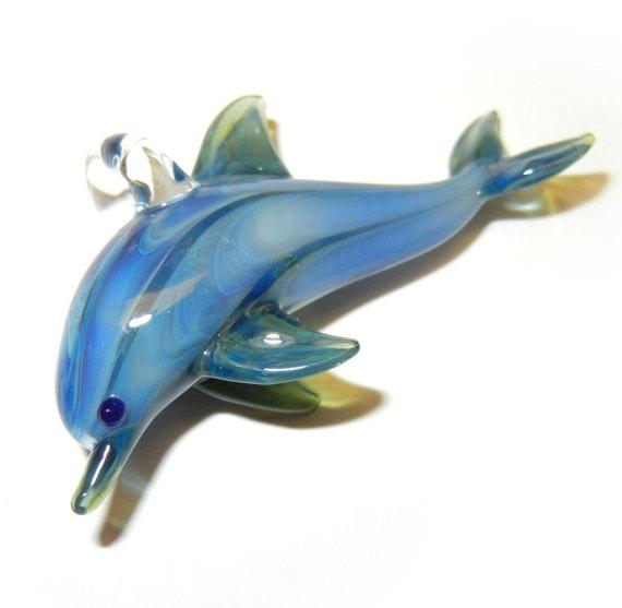 Lampwork Boro Glass Pendant - Focal Bead - Dolphin light blue