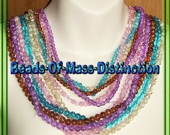 10 - 30 Inch Strands Of Glass Crackle Beads -  6mm and 8mm Set No.1