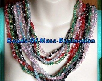 10 - 30 Inch Strands Of Glass Crackle Beads -  6mm and 8mm Set No.2