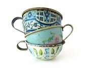 An Instant COLLECTION of Blue Toy TIN TEACUPS - Set of 3