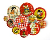 Tin Toy Saucers - INSTANT COLLECTION - Set of 11 Pieces