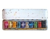 Playtime Watercolors - Vintage Paint Box Tin, Made in USA