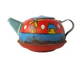 Dutch Teapot - Tin Toy Teapot With Windmills