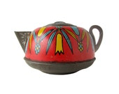 Red Teapot - Tin Toy Teapot With Tulips