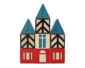 Village Wooden BUILDING Blocks - Set of 13 Vintage Blocks