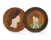 Antique Pyrography Portraits - Pair Of Round Folk Art Portraits On Wood