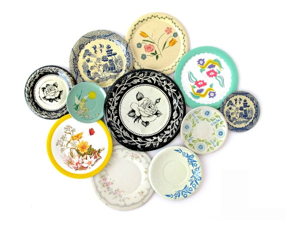Flower Garden - An Instant Collection of TIN SAUCERS - Set of 11 Pieces
