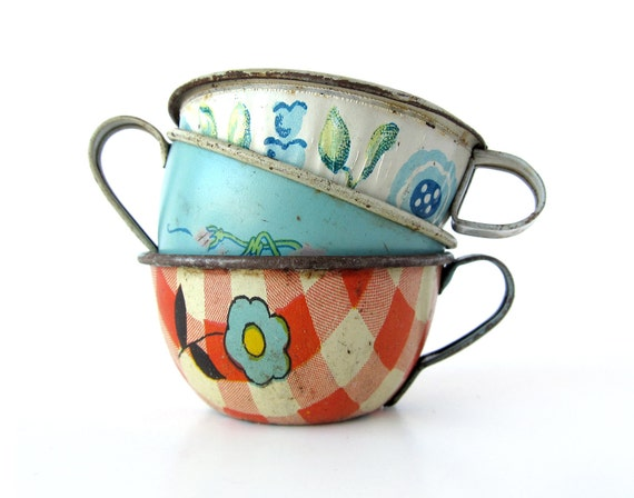 Tin Toy Teacups - Instant COLLECTION - Set of 3 Pieces